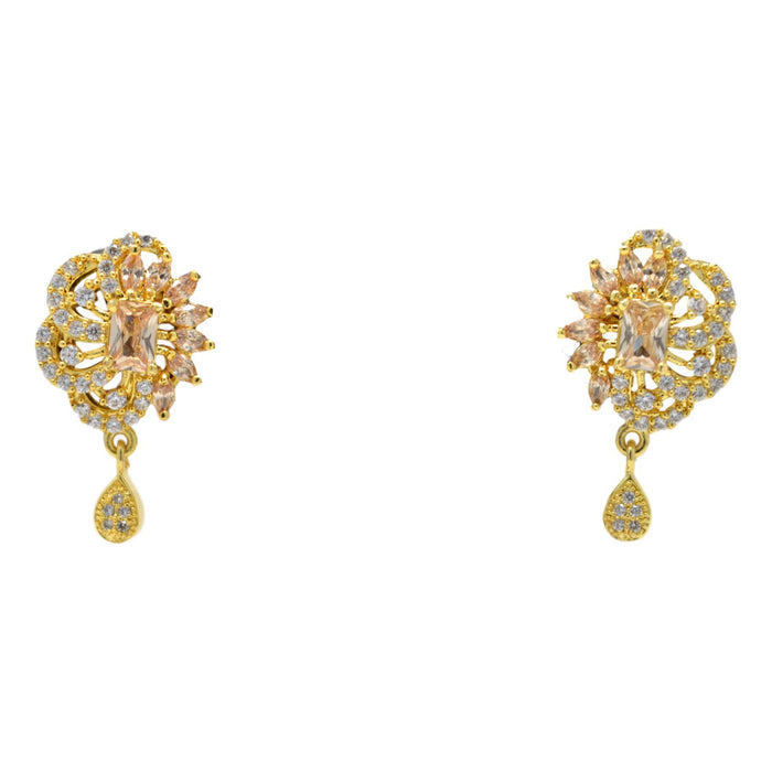 American Diamond with Golden Stone Pendant Set Earrings