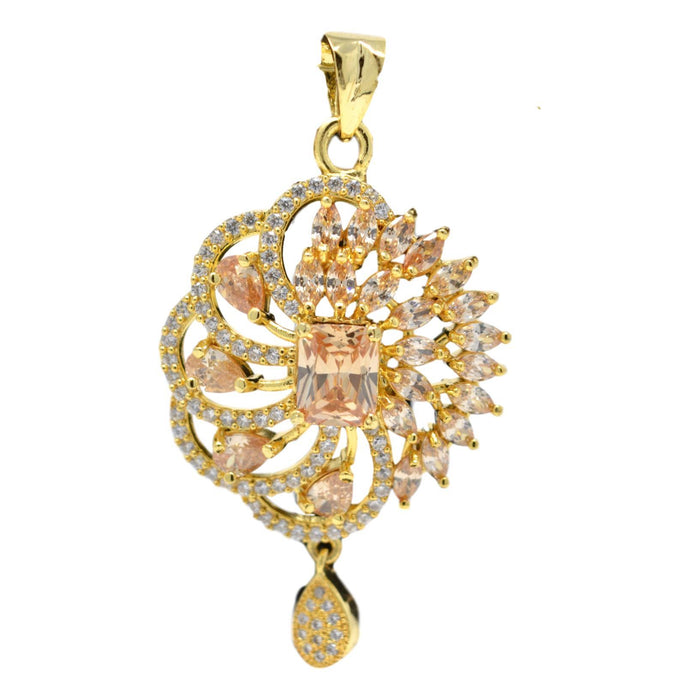American Diamond with Golden Stone Pendant Set Only Pendant