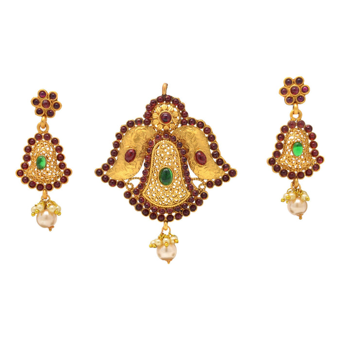 Red & Green Stone with Moti Pendant Set Full Set