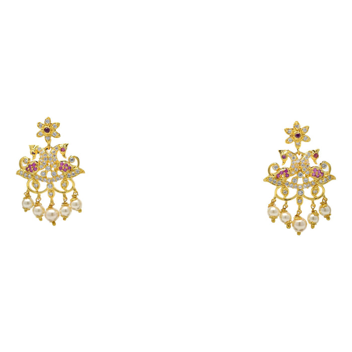 American Diamond with Moti & Pink Stone Pendant Set Earrings