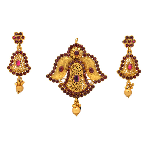 Red Stone with Golden Moti Pendant Set Full Set