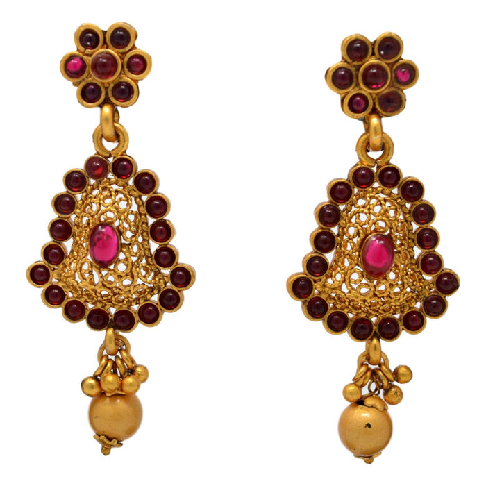 Red Stone with Golden Moti Pendant Set Earrings