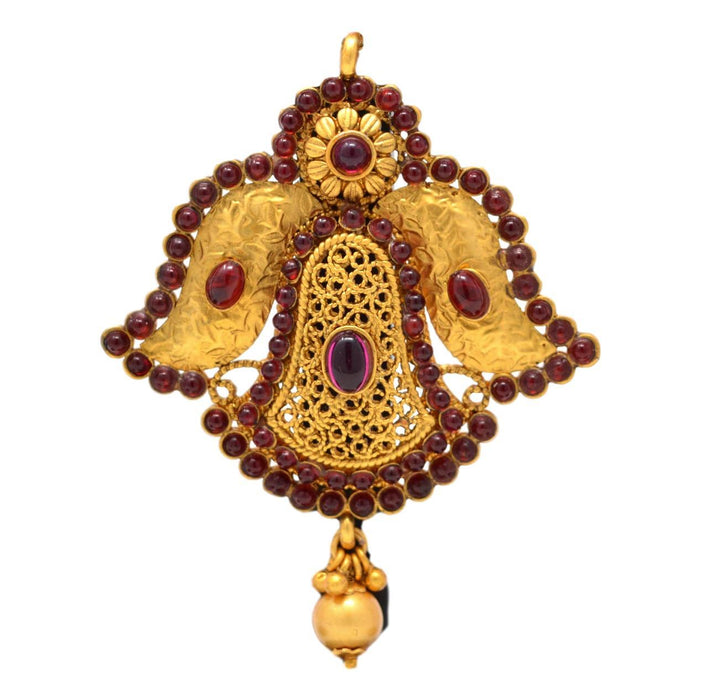 Red Stone with Golden Moti Pendant Set Only Pendant