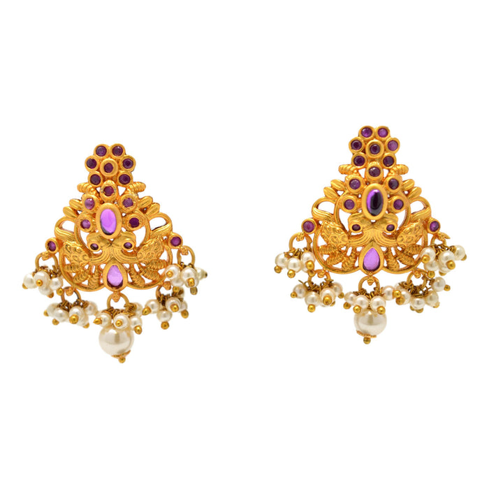 Red Stone with Moti Peacock Pendant Set Earrings