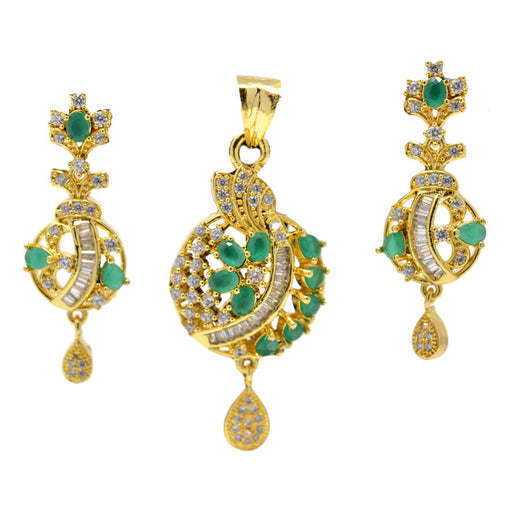 American Diamond with Green Stone Pendant Set Full Set