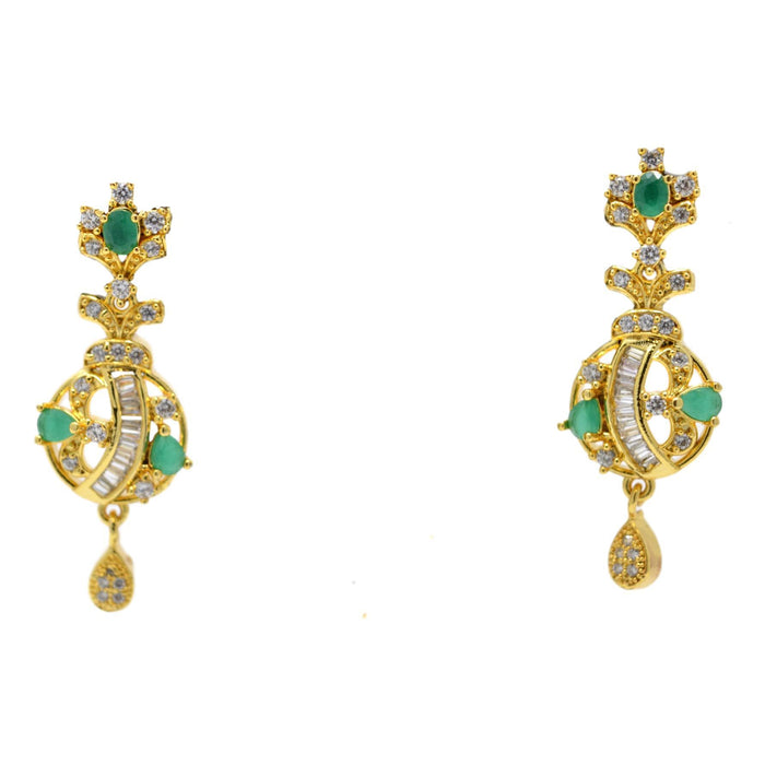 American Diamond with Green Stone Pendant Set Earrings