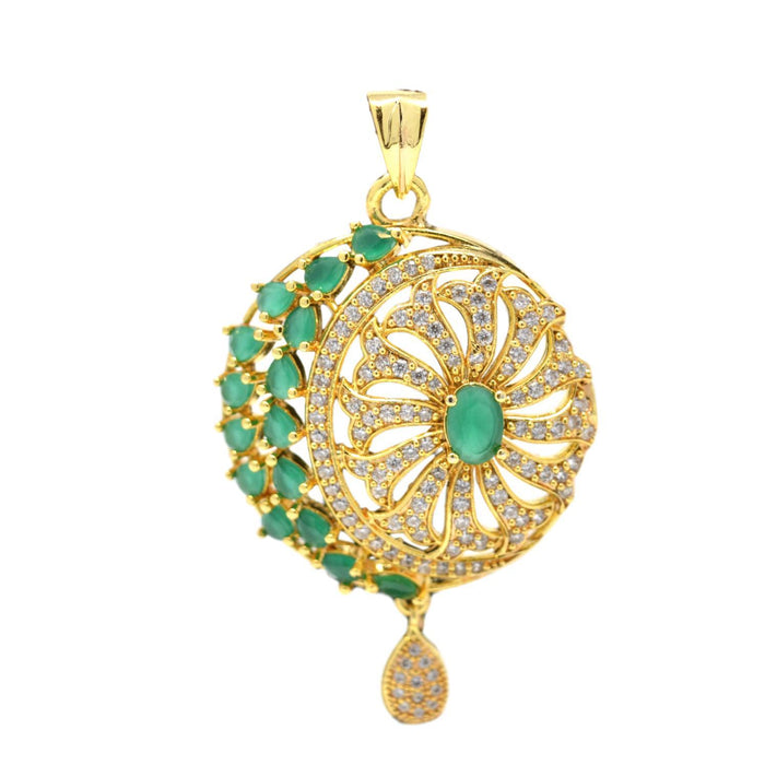 American Diamond with Green Stone Pendant Set Only Pendant