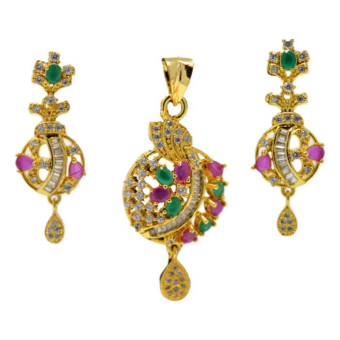 American Diamond with Pink & Green Stone Pendant Set Full Set