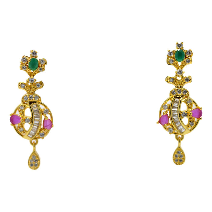 American Diamond with Pink & Green Stone Pendant Set Earrings
