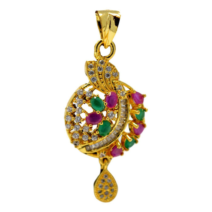 American Diamond with Pink & Green Stone Pendant Set Only Pendant