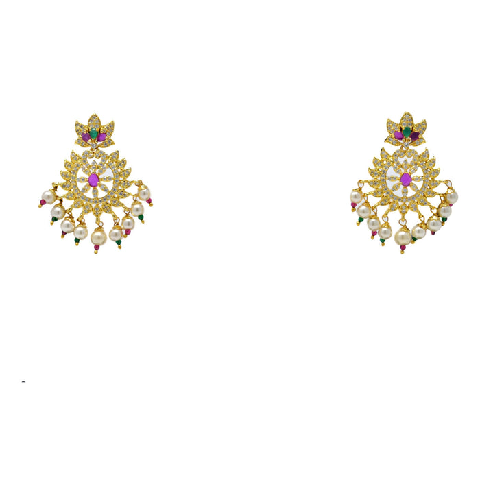 American Diamond with Moti & Red Green Stone Pendant Set Earrings