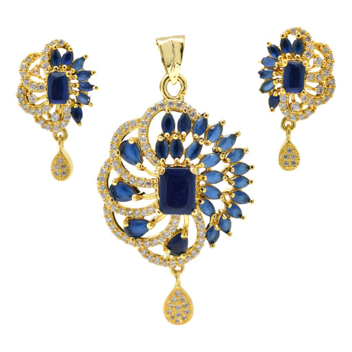 American Diamond with Blue Stone Pendant Set Full Set