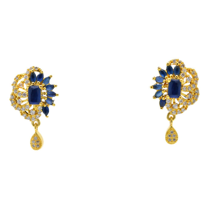 American Diamond with Blue Stone Pendant Set Earrings