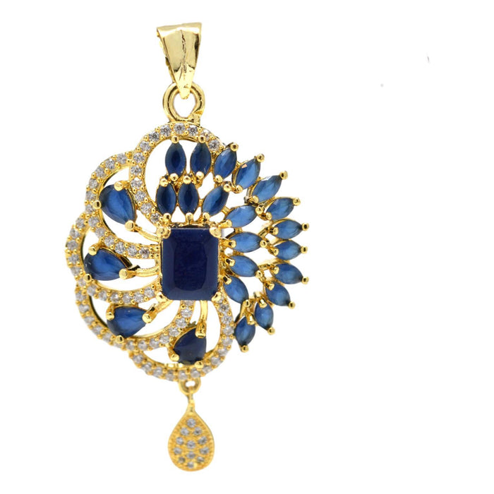 American Diamond with Blue Stone Pendant Set Only Pendant
