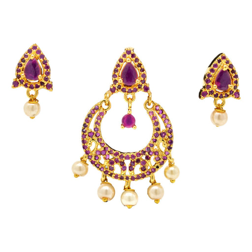 Red Stone & Moti Pendant Set Full Set