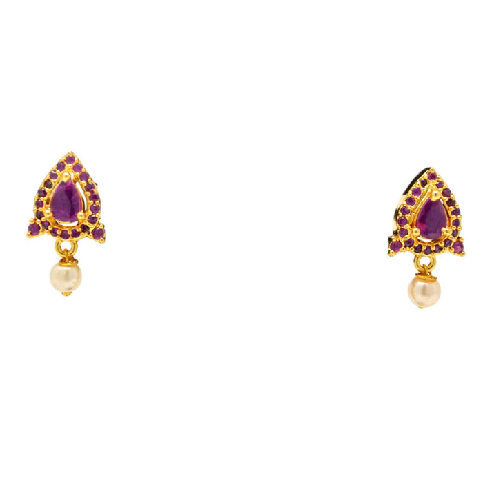 Red Stone & Moti Pendant Set Earrings