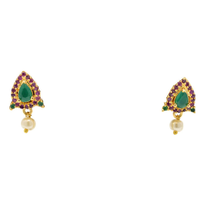 Red & Green Stone with Moti Pendant Set Earrings