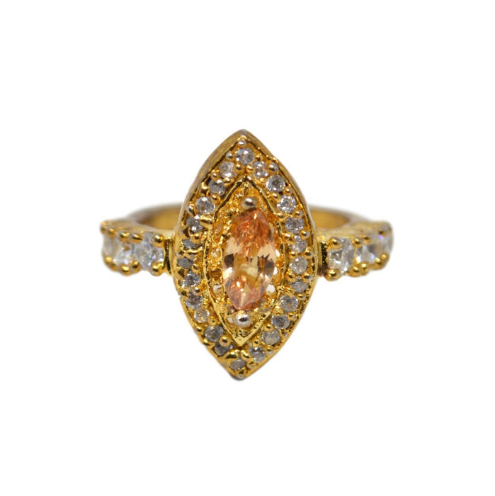 White & Yellow Stone Ring Front