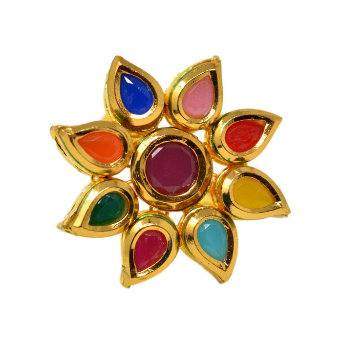 Kundan Multi Colour Ring Front