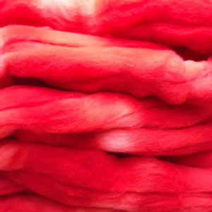 POPPY TALK hand dyed roving merino wool. Knitting spinning felting crafting wool fiber. Extra Fine 64s (21.5 micron) soft red wool top 4 oz.