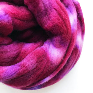 BOYSENBERRY hand dyed roving merino wool. Knitting spinning felting crafting wool fiber. Extra Fine 64s (21.5 micron). dark pink wool. 4 oz.