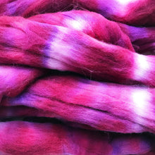 Load image into Gallery viewer, BOYSENBERRY hand dyed roving merino wool. Knitting spinning felting crafting wool fiber. Extra Fine 64s (21.5 micron). dark pink wool. 4 oz.