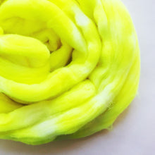 Load image into Gallery viewer, VOLTAGE hand dyed roving merino wool. Knitting spinning felting crafting wool fiber. Extra Fine 64s (21.5 micron). bright neon yellow. 4 oz.
