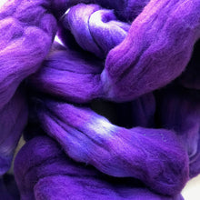 Load image into Gallery viewer, GRAPE GATSBY hand dyed roving merino wool. Knitting spinning felting crafting wool fiber. Extra Fine 64s (21.5 micron). purple wool. 4 oz.