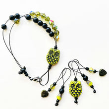 Load image into Gallery viewer, YELLOW OWL knitting stitch markers and row counter bracelet