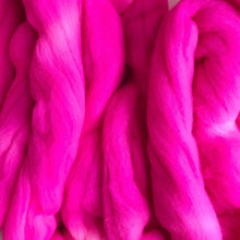 Load image into Gallery viewer, POP at NOTHING hand dyed roving merino wool. Knitting spinning felting crafting wool fiber. Extra Fine 64s (21.5 micron). hot neon pink 4 oz