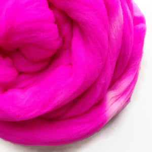 POP at NOTHING hand dyed roving merino wool. Knitting spinning felting crafting wool fiber. Extra Fine 64s (21.5 micron). hot neon pink 4 oz