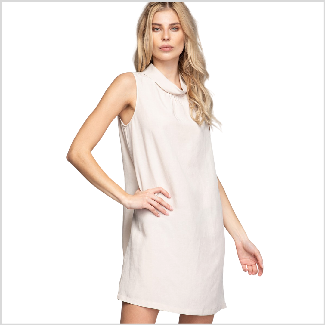Linen/Tencel Blend Mock Neck Mini Dress - Beige