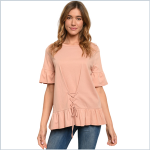 100% Cotton 3/4 Bell Sleeve Shirt w/Lace Up Front Detail and Ruffle Hem - Mauve
