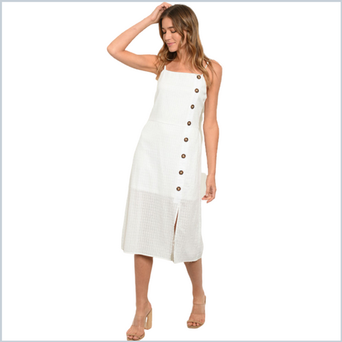 Cotton Adjustable Spaghetti Strap Tank Dress - White