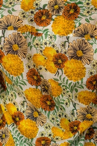 100% Cotton Boho Button Up Semi-Sheer Top w/Roll-up sleeves - Yellow Floral