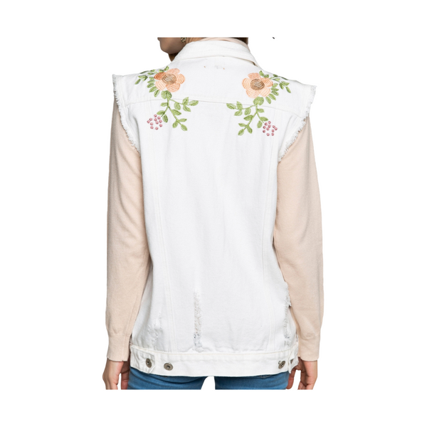 100% Cotton Collared Distressed Denim Vest w/floral embroidery features - White