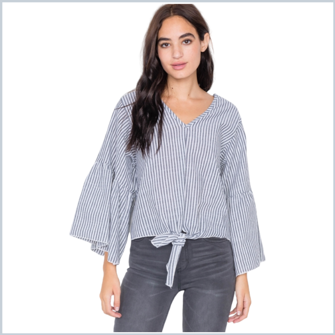 100% Cotton Stripe V-Neck Bell Sleeve Top - Grey & White