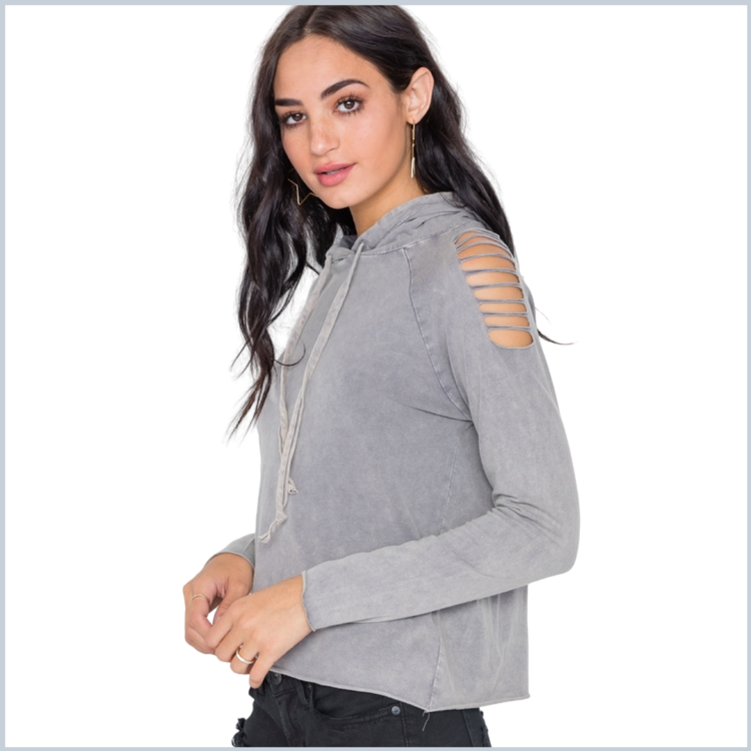100% Cotton Stonewashed T-Shirt Hoodie w/Laser-Cut Shoulders- Gray