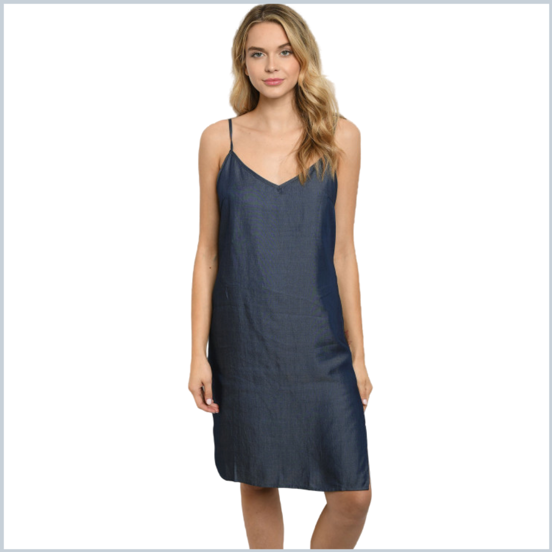 100% Tencel Adjustable V-Neck Spaghetti Strap Midi Dress - Dark Denim Blue