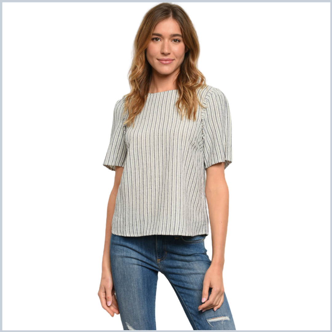 100% Cotton Striped Top with Ruffle Sleeves - Navy