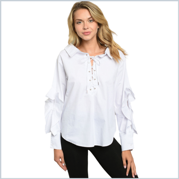 100% Cotton Wide Collared Lace Up Shirt w/Ruffle Slit Long Sleeves - White or Lavender