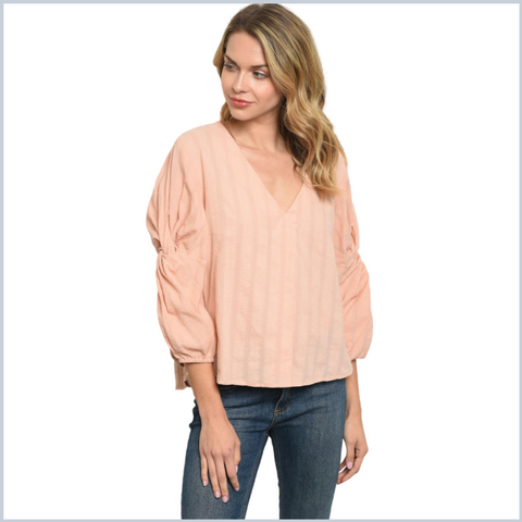100% Cotton V-Neck Top w/Twisted Knot Sleeves 3/4 Sleeves and Hi-Low Hem - Blush or Sage