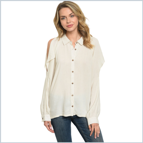 100% Cotton Collared Button Cold Shoulder Shirt w/Flaps - Oatmeal