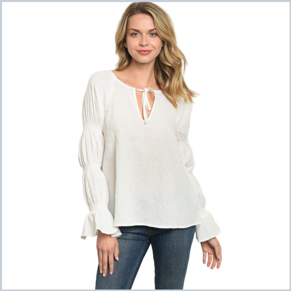 100% Cotton Balloon/Bell Long Sleeve Top  - White