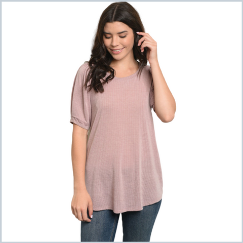 100% Cotton Banded Short Sleeve Ribbed Top w/Lace up Back Tie - Mauve