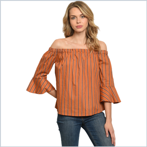 100% Cotton - Off Shoulder Striped Shirt w/Bell Sleeves - Rust