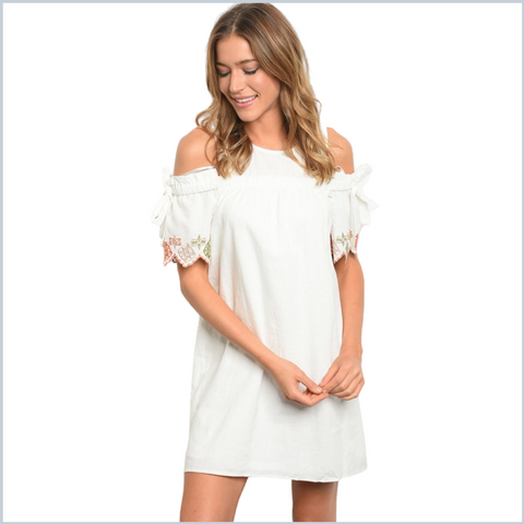 Cotton Off Shoulder Mini Dress w/Embroidered Tie Sleeves - White