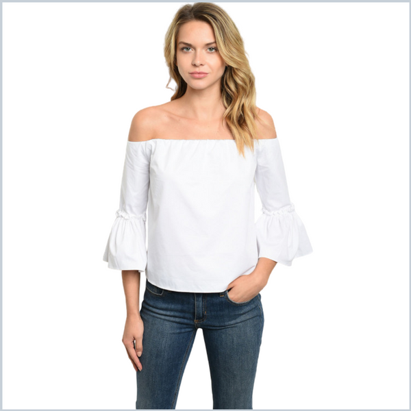100% Cotton Off Shoulder White Top w/Bell Sleeves - White