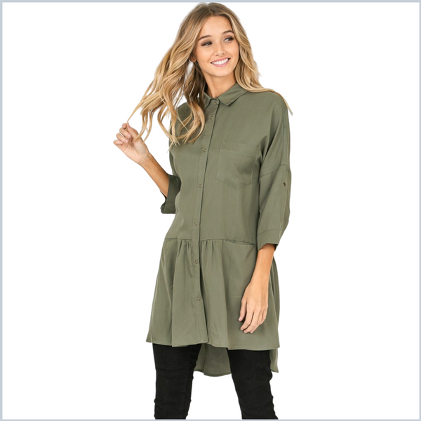 100% Tencel Collared Button Up Dress/Tunic Hi-Low Hem - Olive