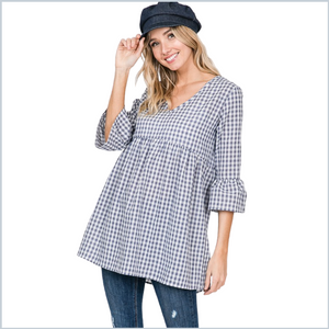 100% Cotton V-Neck Gingham Babydoll Top w/Bell Sleeves - Blue